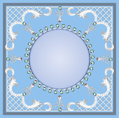 background with ornament with pearls and precious stones