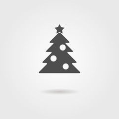 black icon of Christmas tree with shadow