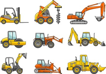 Detailed illustration of heavy equipment and machinery