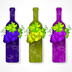 Bottle wine with cluster grapes and pattern on white, vector