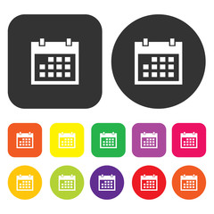 Calendar icon. eCommerce symbol. Round and rectangle colourful 1