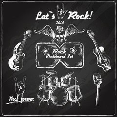 Rock music chalkboard set