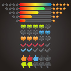 Colorful rating icons set