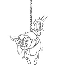 paparazzi photographer hanging on a rope, vector illustration