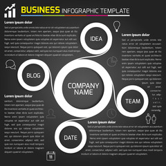 Business light infographic with circles in dark background