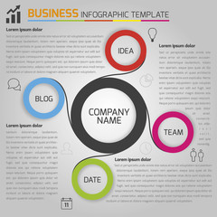 Business light infographic template with circles