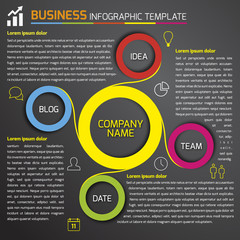 Business dark infographic template with circles