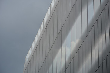 Office block with dark cloud