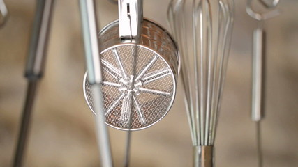 Kitchen utensils rack focus