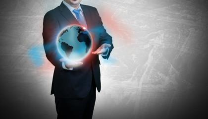 Globus Geschäftsmann Globalisierung