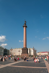 Alexander's Column at Dvortsovaya square in Saint Petersburg, Ru