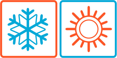 snowflake and sun icons