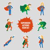 Fototapety Set of superheroes stickers