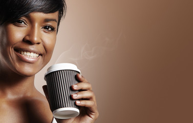 closeup woman with coffee