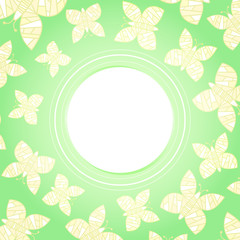 green cheerful card/frame with yellow hovering butterflies