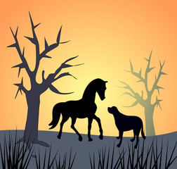 Horse and Dog by Sunset