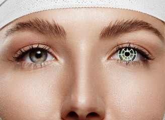 closeup woman eyes with laser correction