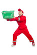 Man in red coveralls with shopping supermarket cart trolley