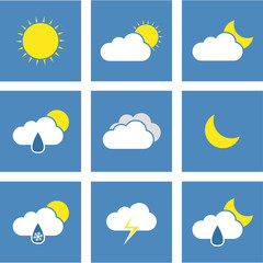 Flat Weather Forecast Icons
