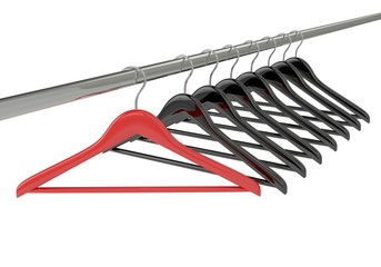 Black and red clothes hangers isolated on white
