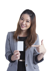 Businesswoman Holding Blank Credit Card on White
