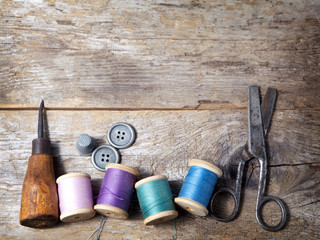 Vintage Background with sewing tools