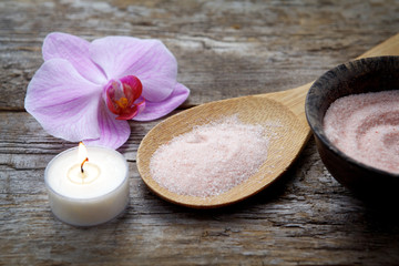 Aroma spa set on wooden background