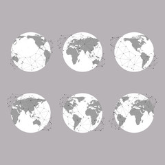 Set of globes, World Map Vector Illustration, background for