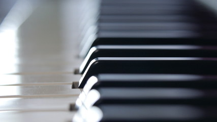 Piano keyboard macro shooting. Dolly Shot