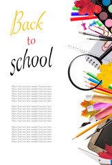 school tools on white background