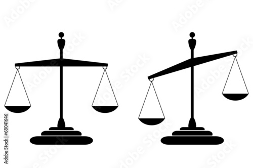 Justice scales-balanced and tilted isolated on white - 68041646