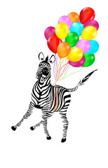 Zebra Flying Away on Balloons