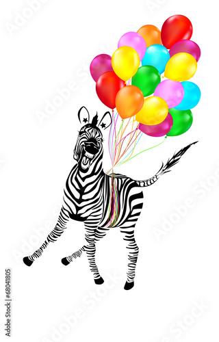 Zebra Flying Away on Balloons - 68041805