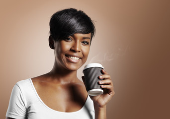 pretty black woman drinking coffee