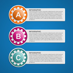 Color Gears Infographics Options Banner. Vector illustration.