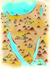 Mapa de península del Sinaí en tiempos del éxodo judío