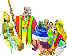Moisés golpea la roca y sale agua para que el pueblo podrá beber