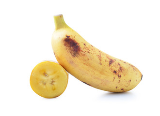 Ripe banana with white background.