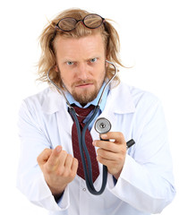 Funny doctor in glasses with stethoscope isolated on white