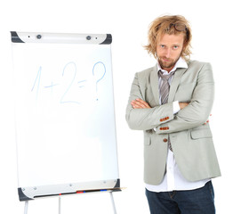 Funny doctor with board isolated on white