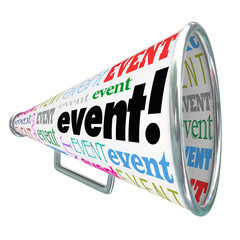Event Word Bullhorn Megaphone Advertising Marketing Special Gath