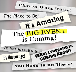 Big Event Headlines Newspaper Announcements Advertising Message
