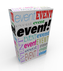 Event Word Package Box Advertise Special Show Meeting