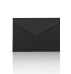 Black envelope isolated realistic icon