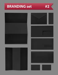 Branding realistic set black paper