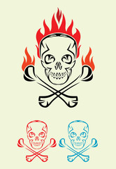 Skull with fire tribal, art vector decoration.