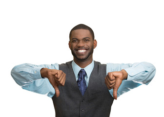 Happy man giving thumbs down, excited about your failure