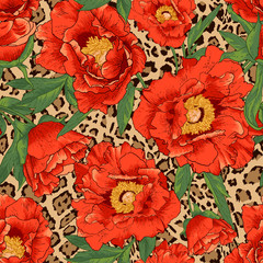 Seamless flower pattern on leopard background