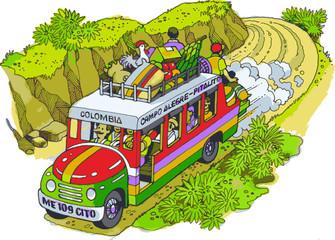La chiva transporte típico rural de Colombia Suramérica