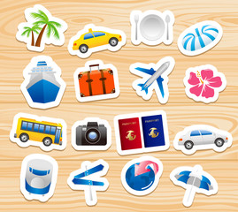 tourism icons on wooden board Vector